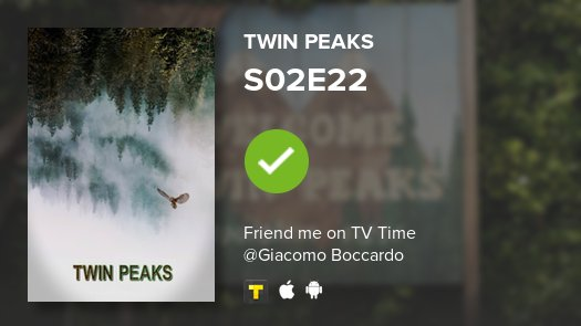 test Twitter Media - I've just watched episode S02E22 of Twin Peaks! #twinpeaks  https://t.co/G7Casaqnu3 #tvtime https://t.co/2qiDytVo66