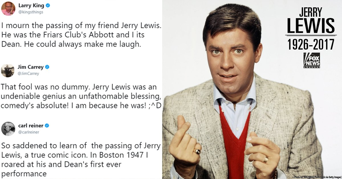 Celebrities react to the death of Jerry Lewis, a comedy icon and philanthropist https://t.co/d29snCAUNq https://t.co/NjL74rZrnY