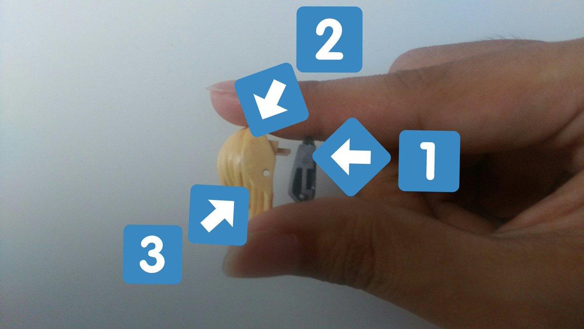 フレズヴェルク型の簡単なバイザー可動改造講座。①上位のピンを切る。②ランナーを鉛筆みたいに尖らせてブッ指して接着、乾いた