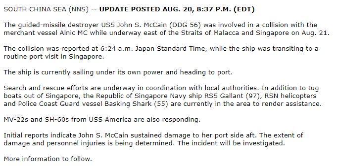 #BREAKING: Update 1 on #USSJohnSMcCain collission. More to follow - https://t.co/ZVeM6KGdDT Via @US7thFleet https://t.co/zD7DFXVxfN