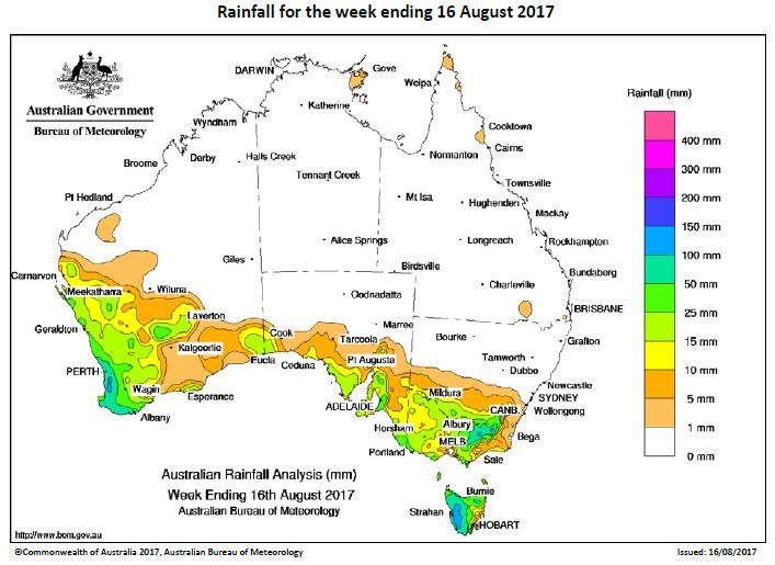 5-50mm rainfall recorded in SW WA, sth SA &...