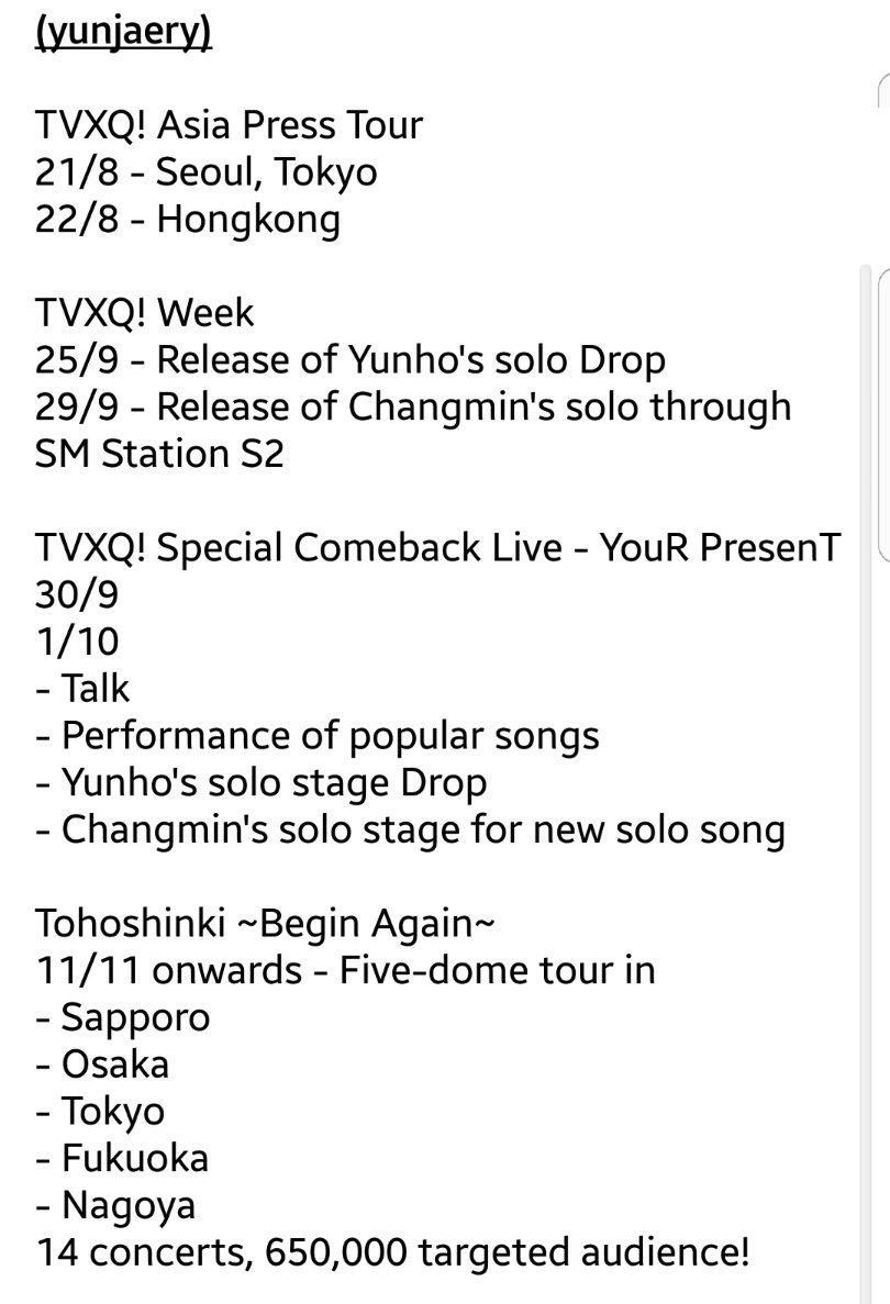 Summarized timeline of TVXQ's activities from now on!!! https://t.co/7aKZdqKrSY