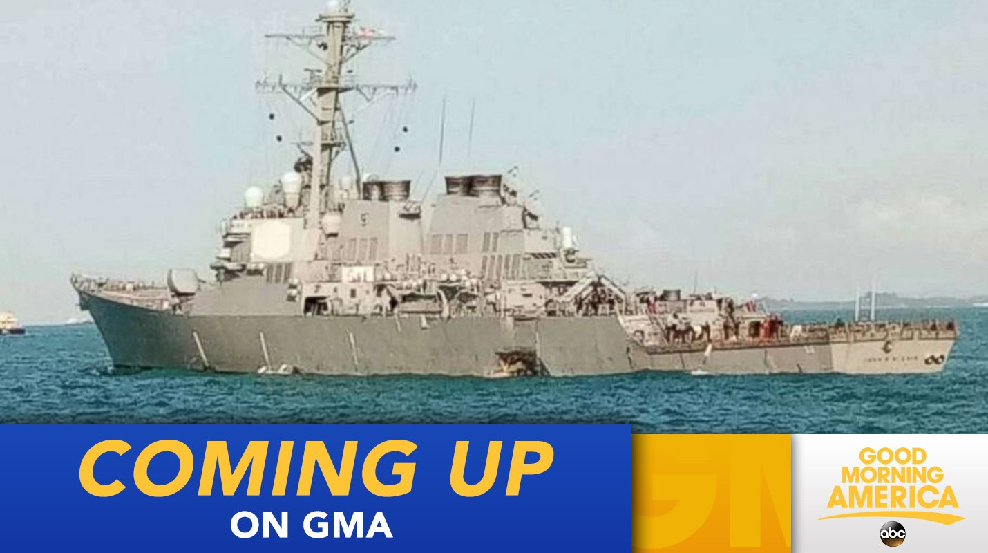 COMING UP ON @GMA: 10 missing after US Navy destroyer collides with merchant ship off Singapore https://t.co/bKA6x4MSSc