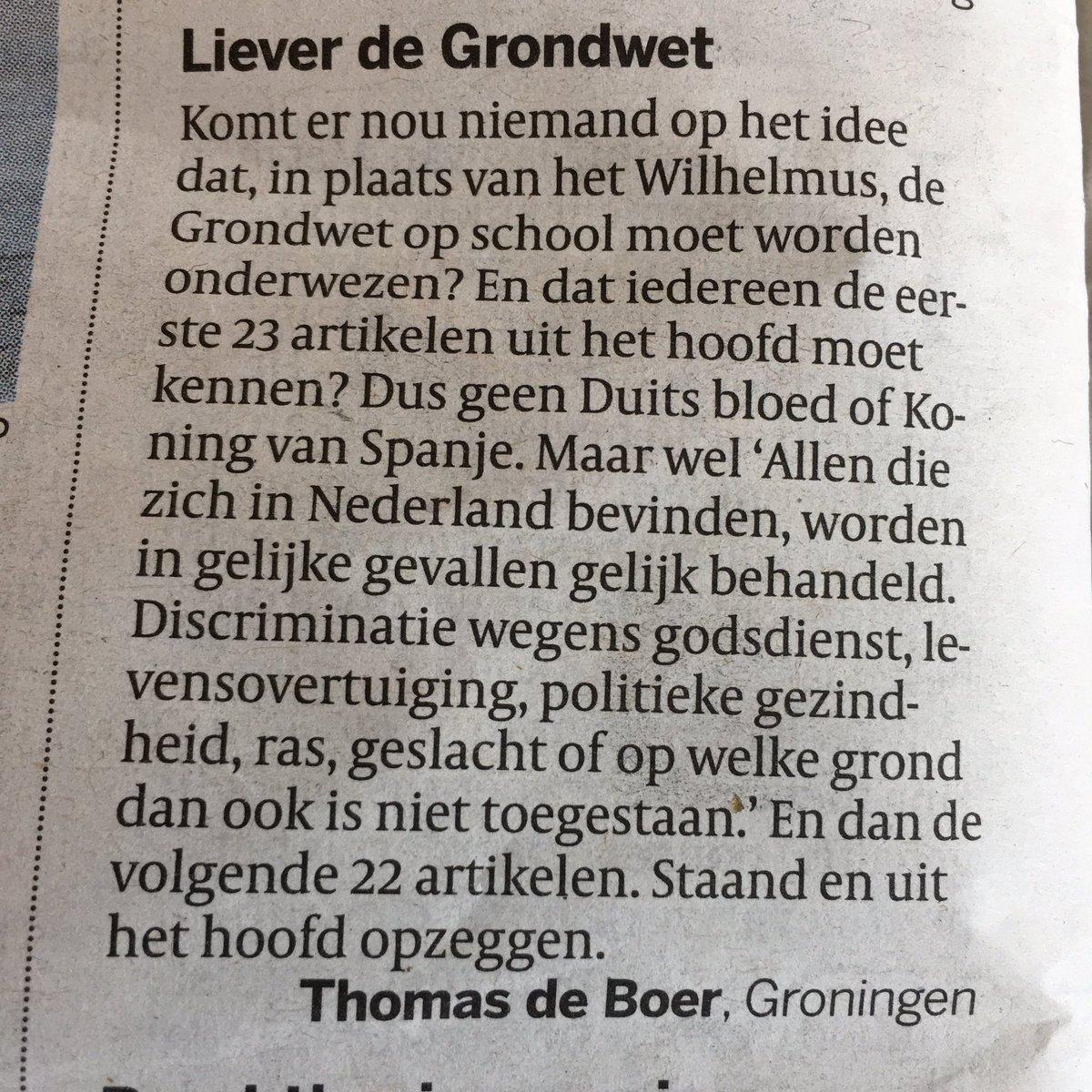 RT @dusseldorp: Wat een goed idee. Ingezonden brief Volkskrant vandaag. https://t.co/OLmDda4BJR