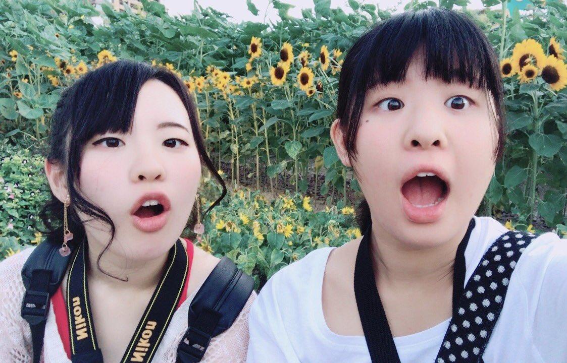 お花撮りに行った(ノ・ω・)ノ妹ちょけた写真しか撮らせてくれへん…梅田にもひまわりあってよかった🌻