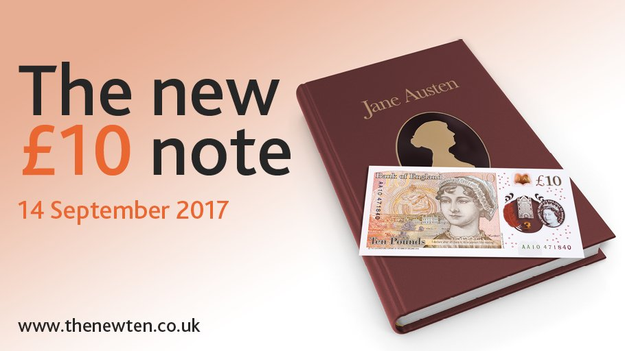 The #NewTenPoundNote featuring Jane Austen: coming 14 September 2017. https://t.co/VMGsueavyh https://t.co/9mz9xCNZFy