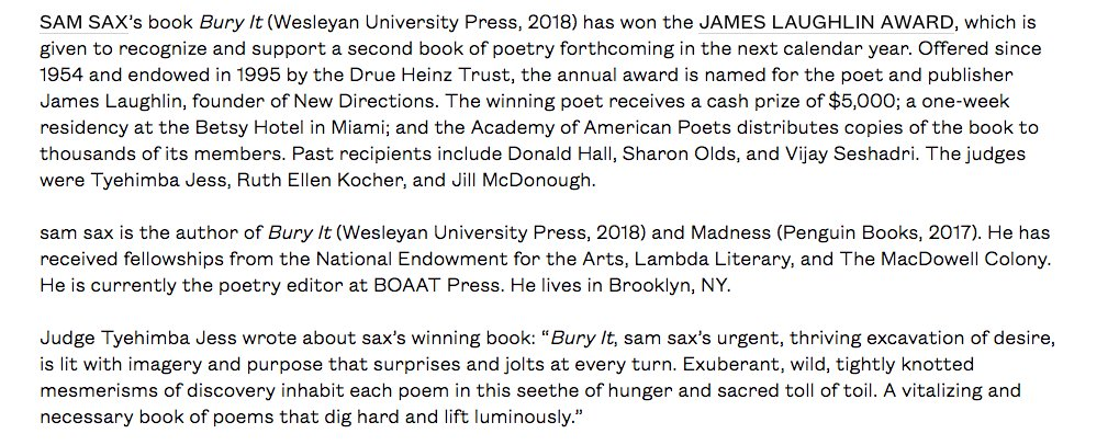 test Twitter Media - RT @samsax1: My second book, Bury It, @weslpress won The James Laughlin Award from the Academy of American Poets https://t.co/blJerpGV8D