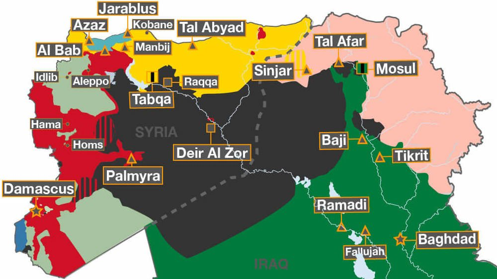 The steadily shrinking territory of ISIL mapped