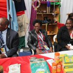 Mr. Wilfred Musau, Esther Mathi and Esther Njoroge at the Kenya High Commission stand at the Fair https://t.co/MljHdCcYpF