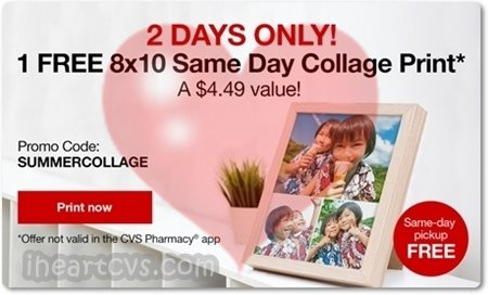 free 8x10 collage print from cvs! freebies coupons couponing couponcommunity deals