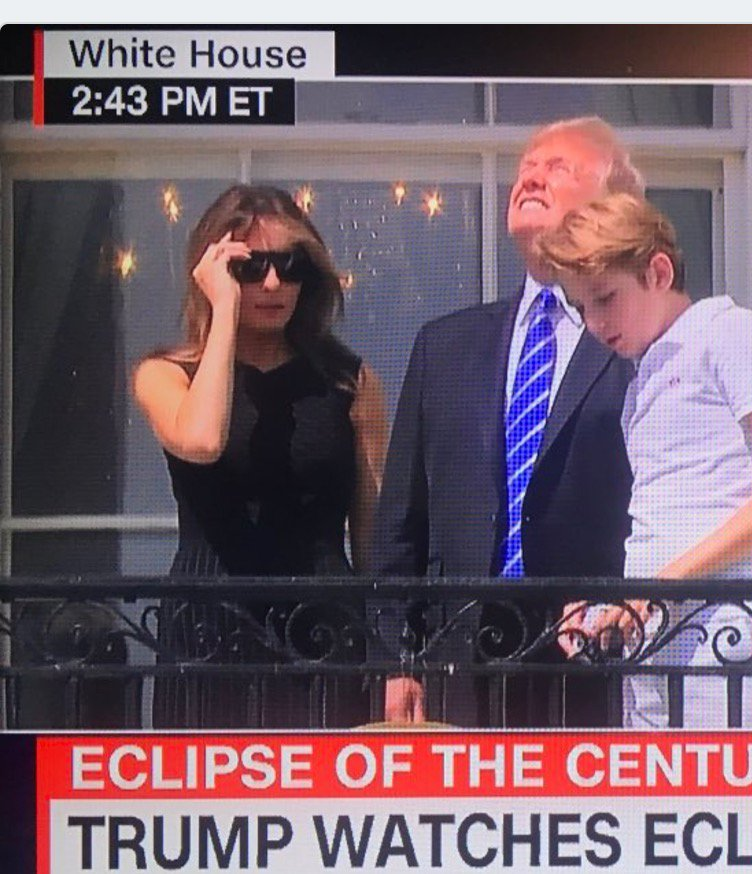 From @realDonaldTrump: 'Dishonest, fake news media said don't look at eclipse w/o glasses, so I did! JOBS!' https://t.co/Mqt5xUoLgA