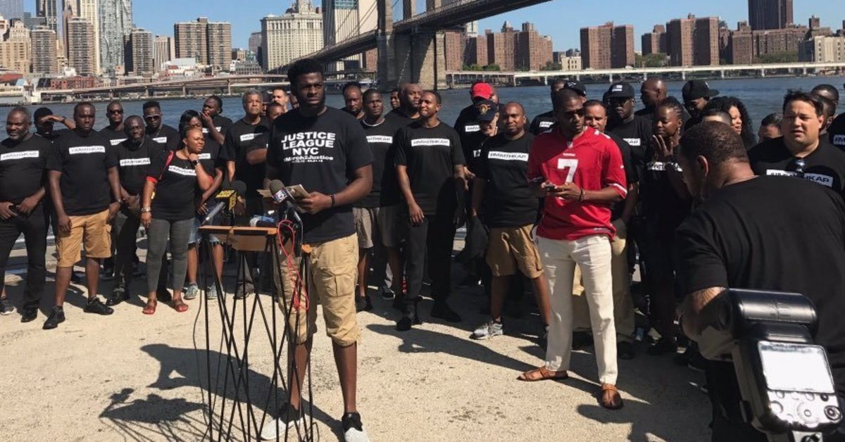 Nearly 100 NYPD officers rally in support of Colin Kaepernick
