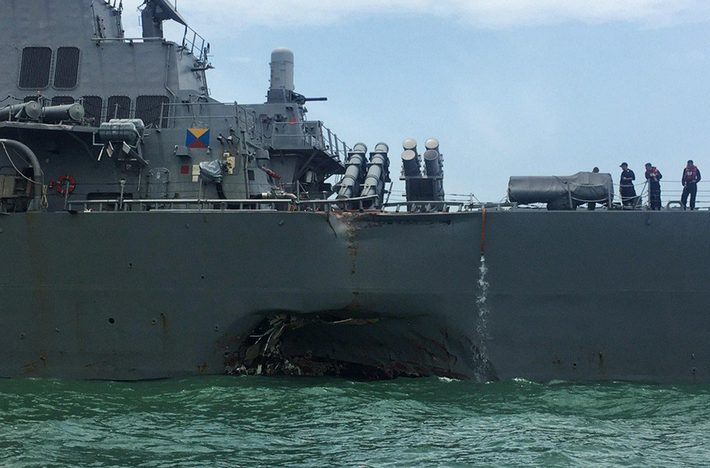10 sailors missing after USS John S. McCain collides with oil tanker