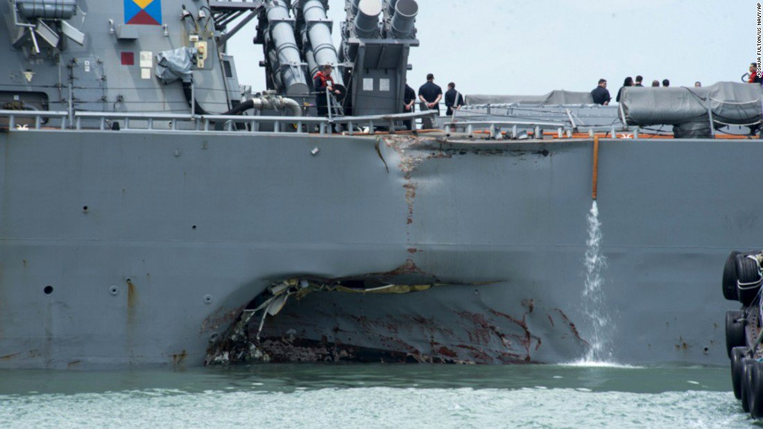 Official US Navy ship lost steering control before collision