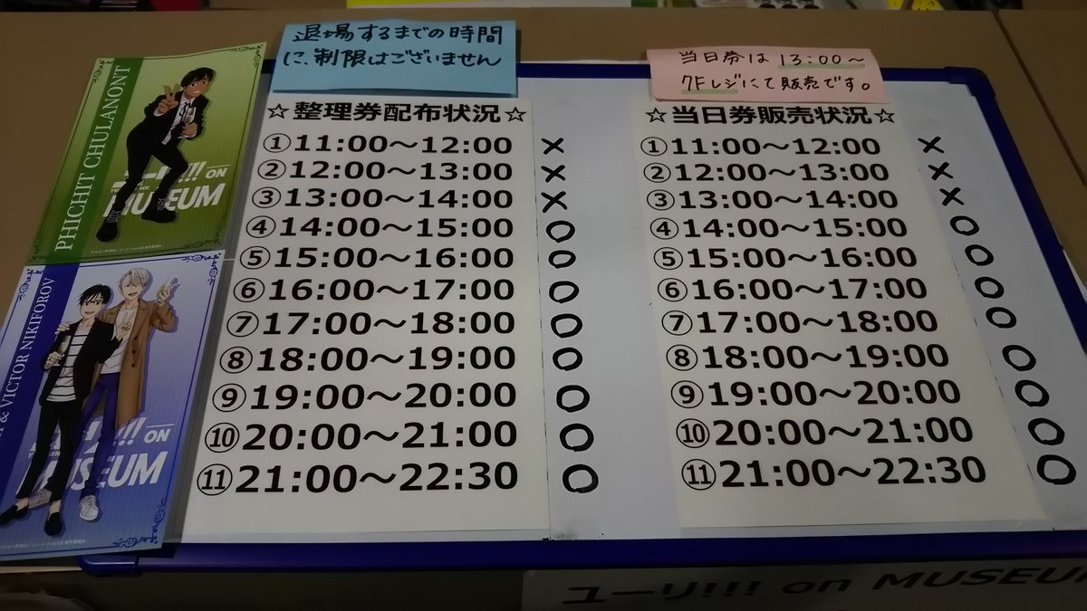 【#YOM_混雑状況】整理券・当日券の配布状況です。よろしくお願い致します。会期終了間近は大変な混雑が予想されますので、