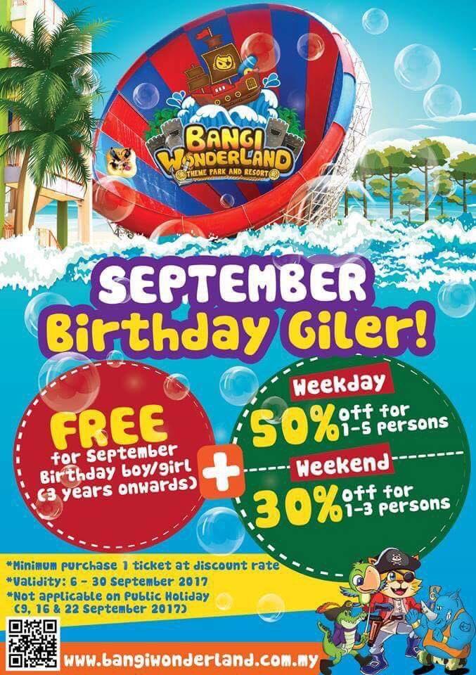 Siapa lahir bulan 9, Bangi Wonderland ada buat promo, siapa lahir bulan 9 dapat masuk free! Zzzebarkannnnnn! https://t.co/3Taox8wMwq