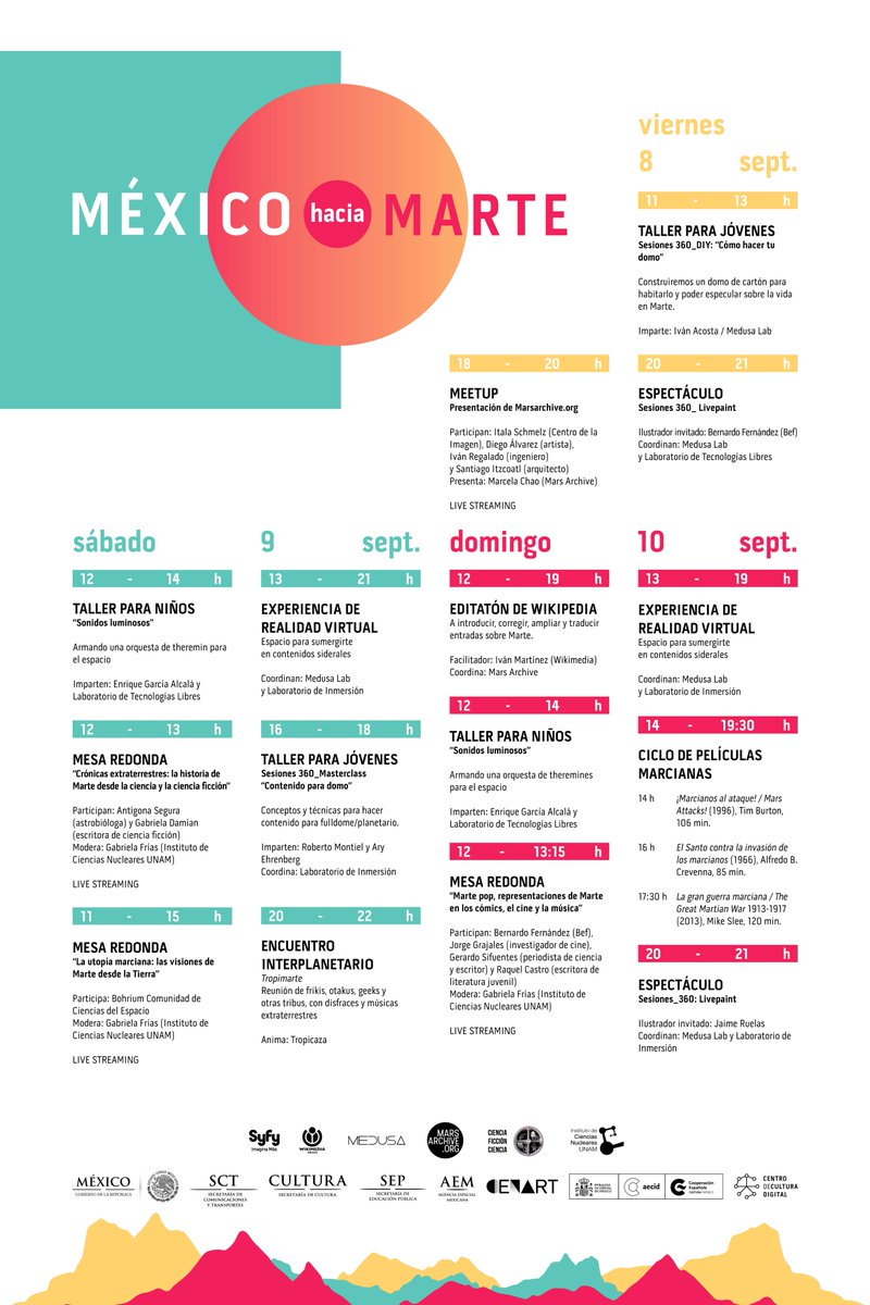 Les compartimos el programa completo de #MéxicoHaciaMarte en el @CCDmx https://t.co/Oa3TPuSSWG https://t.co/JikI4y9EcS