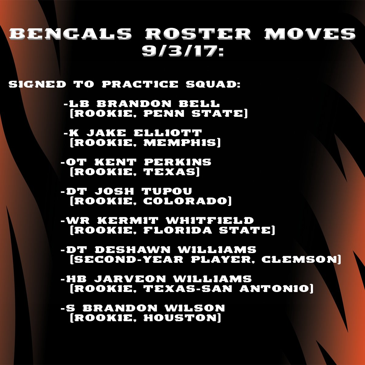 The #Bengals sign eight players to the practice squad. #Bengals50 https://t.co/DUCmo9iomS