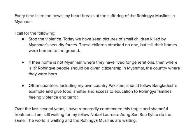 RT @Malala: My statement on the #Rohingya crisis in Myanmar: https://t.co/1Pj5U3VdDK