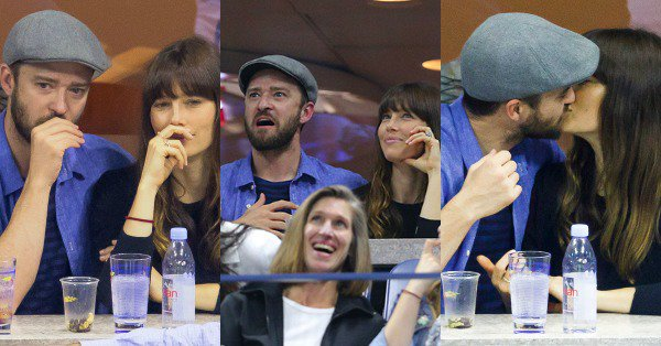 The many faces of Justin Timberlake and Jessica Biel at the U.S. Open.