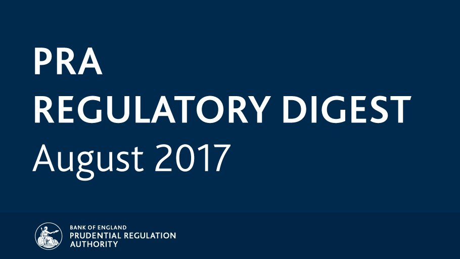 Catch up on August's key regulatory news and publications with the #PRARegulatoryDigest: https://t.co/954nzqYT0w https://t.co/PjSair1MWl