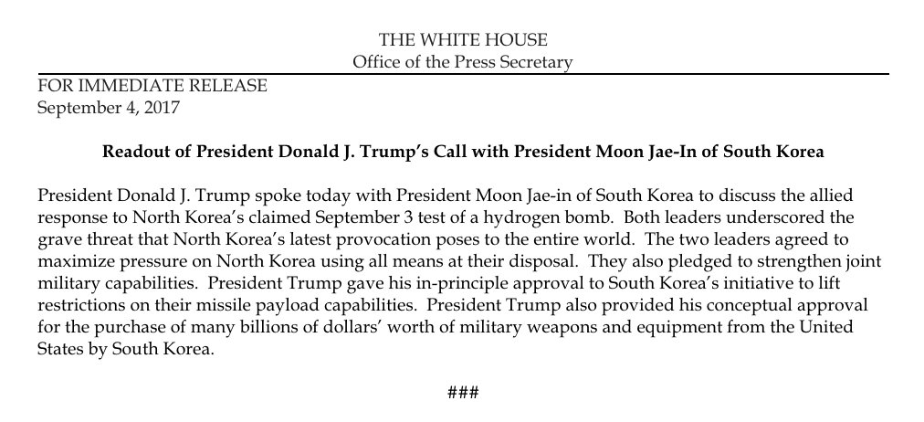 Readout of President Donald J. Trump's Call with President Moon Jae-In of South Korea https://t.co/Syx8hPSSp2