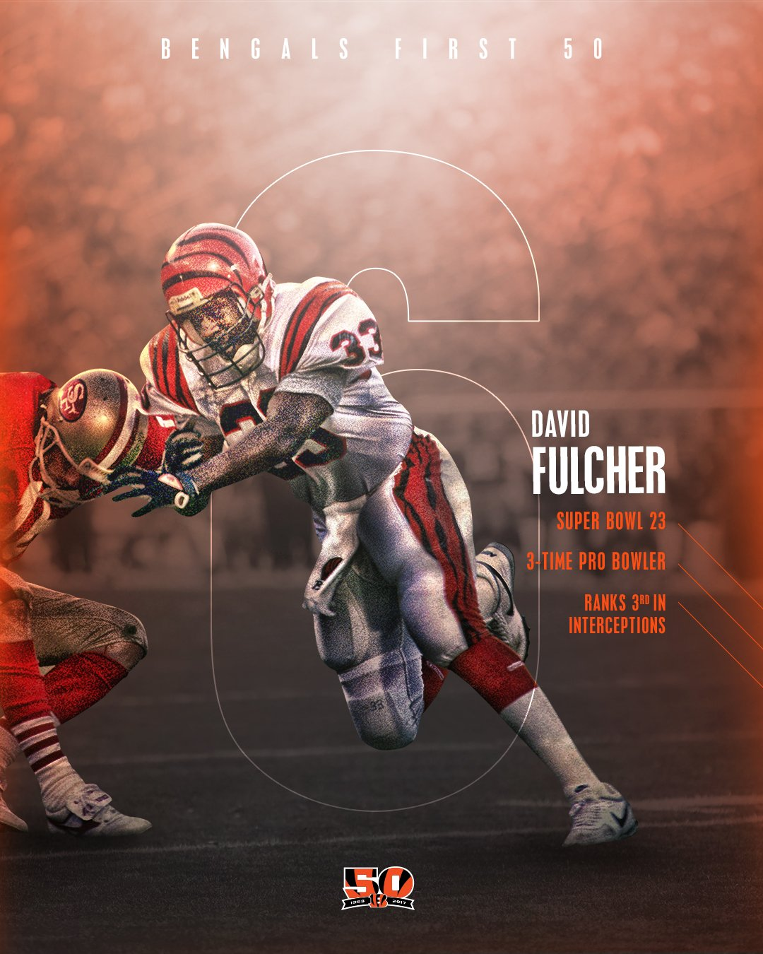 6 days until the start of our 50th Season! #BALvsCIN  Number 6 on the #Bengals First 50: David Fulcher  #Bengals50 https://t.co/ON5sEszErW