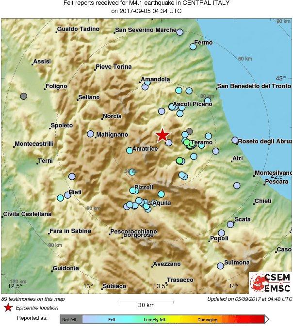 Aquila Italy Map.M4 1 Earthquake Terremoto Strikes 41 Km N Of L Aquila Italy