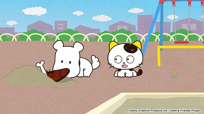 アニメ タマ&フレンズ~うちのタマ知りませんか?~ 今日のお話は「ポチの宝物」ポチが公園で大切な宝物を埋めてるようです。