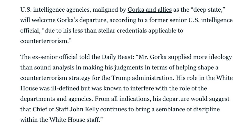 Gorka is gone and the real counter-terror professionals are PSYCHED. https://t.co/93Prq2o7zO https://t.co/WYfLUw1GMV