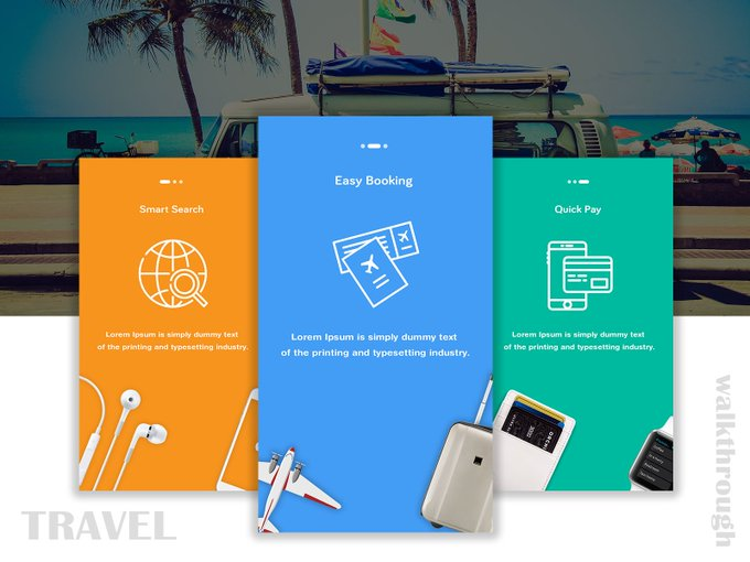 Travel App Onboarding   UI kit by Ram Nethaji freebie