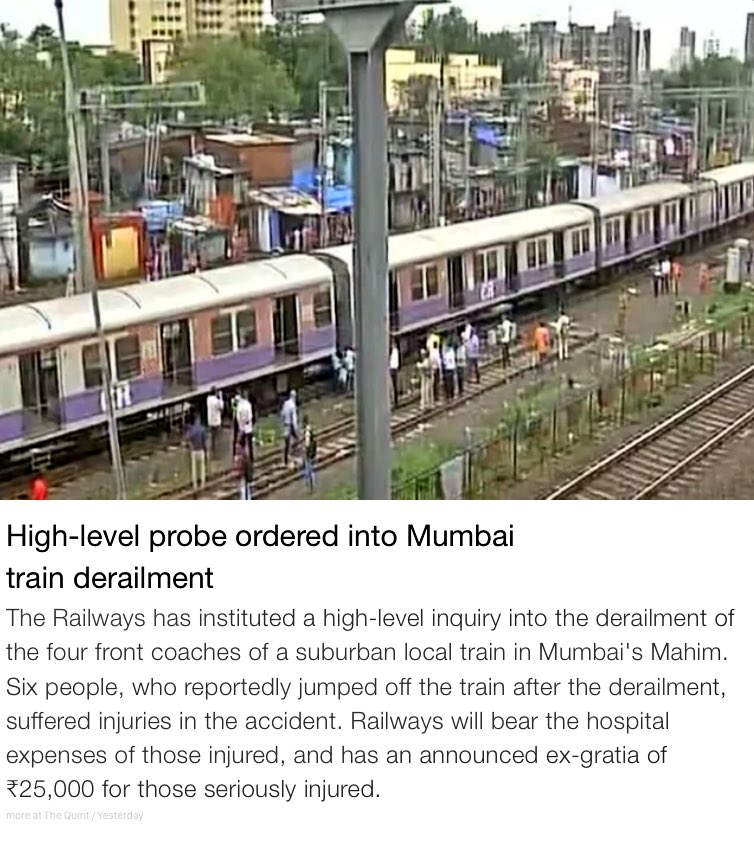 Probe ordered into Mumbai train derailment. @RailMinIndia constituted team of high level officials to investigate incident. @sureshpprabhu https://t.co/oovRfRbCkY