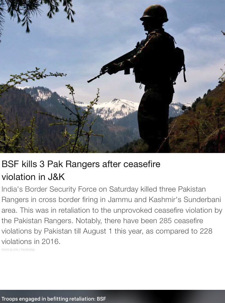 Our brave BSF kills Pak rangers after ceasefire violations in J&K. Army vows to make J&K terrorist free. @adgpi https://t.co/dvm5rokVxg