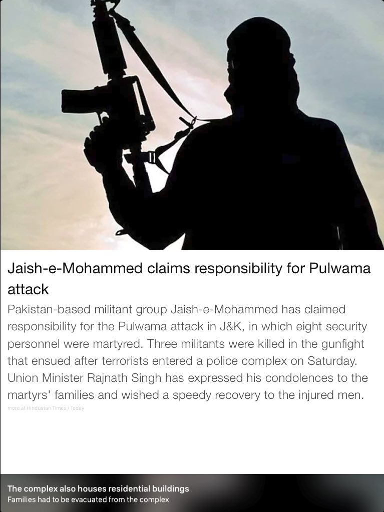 Jaish-e-Mohammed claims responsibility for Pulwama attack. https://t.co/5TmNrhk4Hv