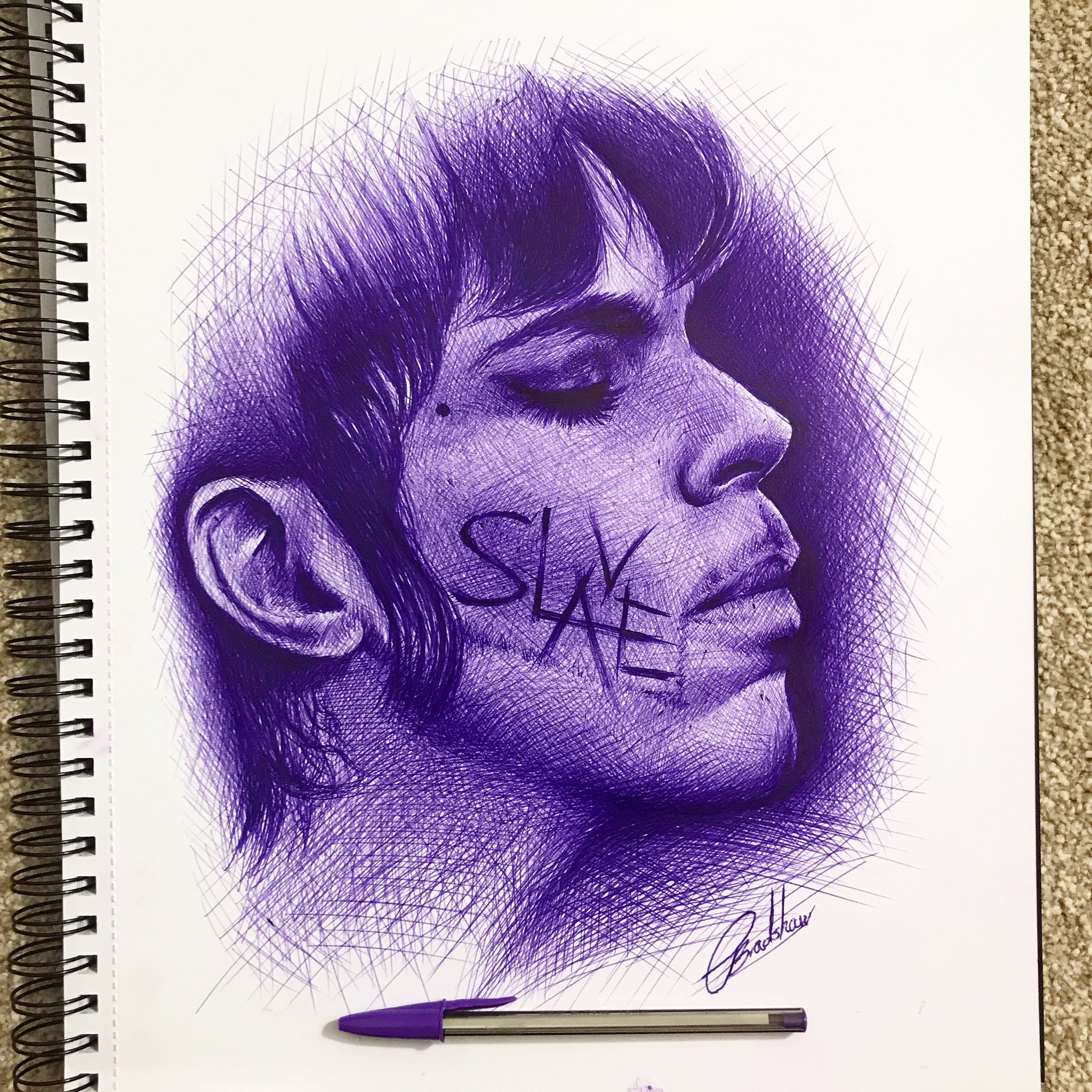 Purple ink sketch of #Prince. #ballpointpen #inksketch #ink #purplerain https://t.co/Vgs1N1i4Ye