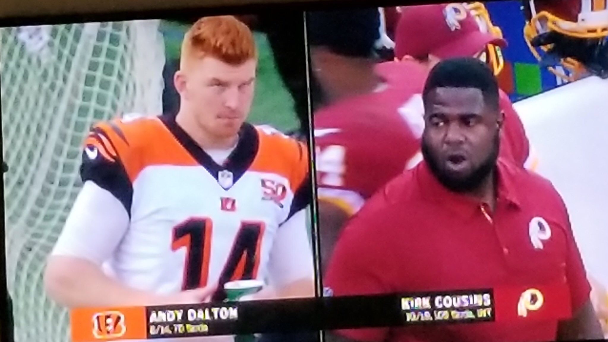 Kirk Cousins really changed in the offseason   (pic via @RealNeilB) #CINvsWAS https://t.co/4CzNx4Obb6