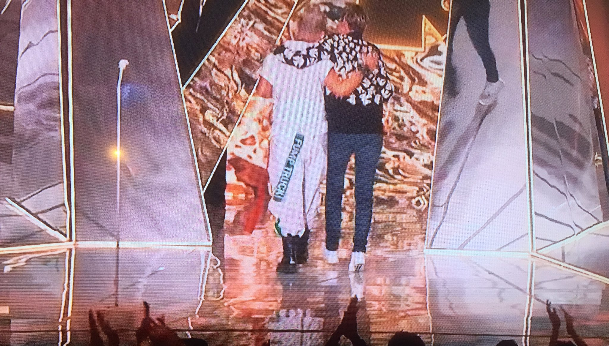 Pink walking off stage with Ellen Degeneres while wearing a 'Fump Truck' tag https://t.co/ROOdtYV3Ga