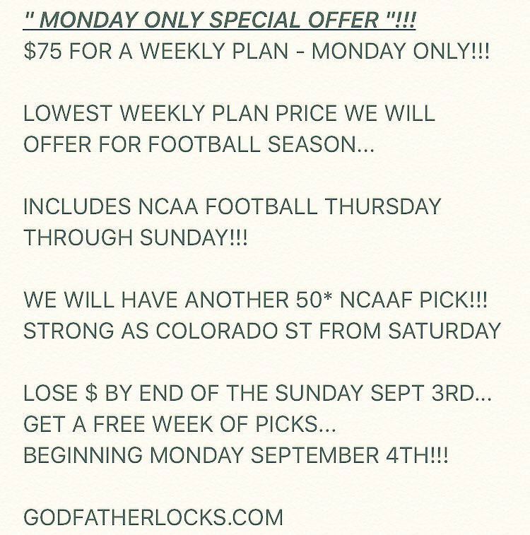 THIS MONDAY ONLY WEEKLY PLAN SPECIAL OFFER WILL EXPIRE AT 6PM TONIGHT!!!  https://t.co/blcDF7HiXd https://t.co/P7AIZVcAOJ