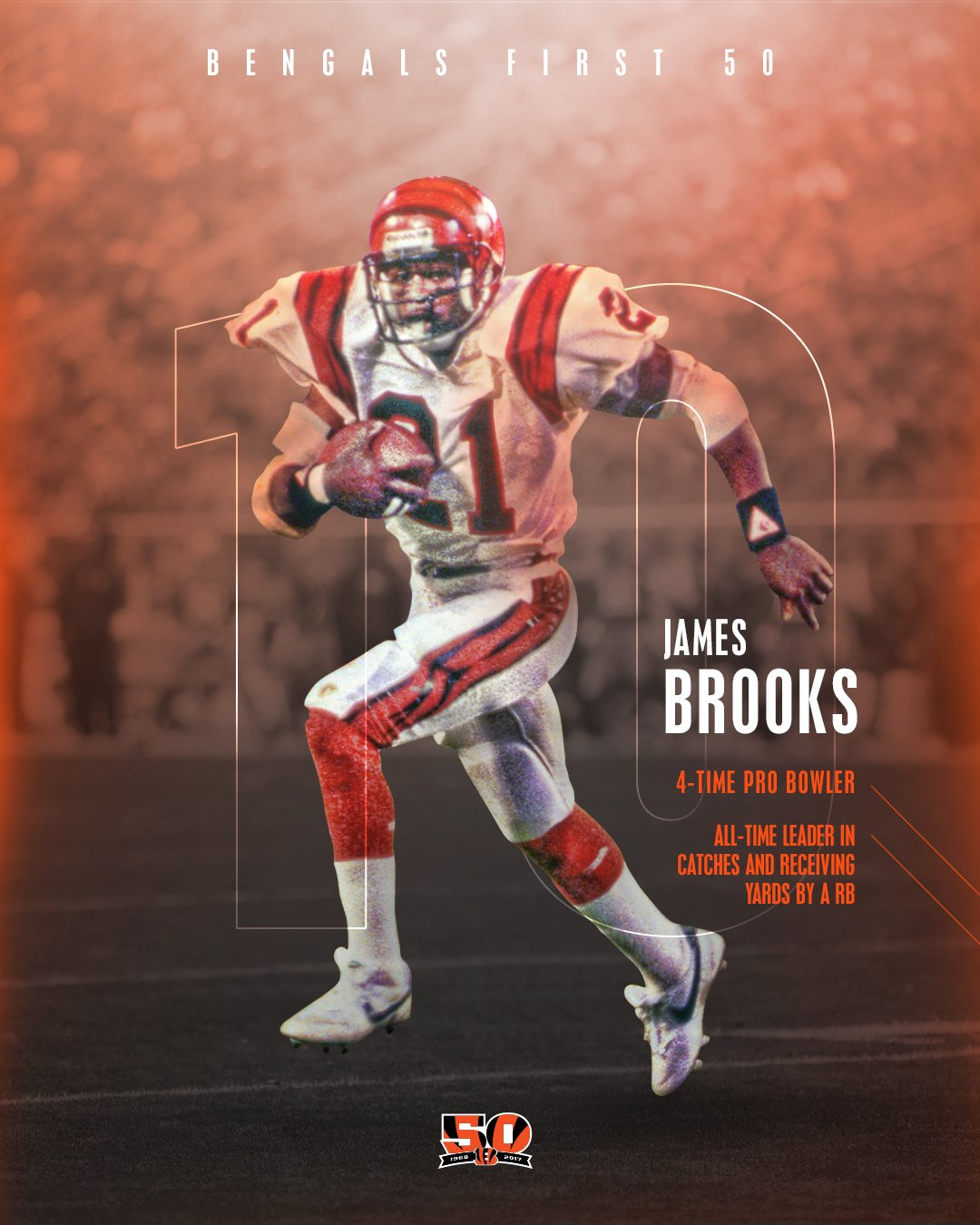 10 days from today: Ravens at Bengals  Number 10 on the #Bengals First 50: James Brooks  #Bengals50 https://t.co/pmoTNPhjEH