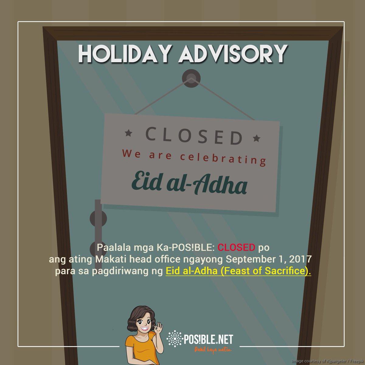 test Twitter Media - Paalala mga Ka-POS!BLE: CLOSED ang ating Makati head office ngayong Sept 1 para sa pagdiriwang ng #EidalAdha #FeastOfSacrifice https://t.co/4lcBq5RLss