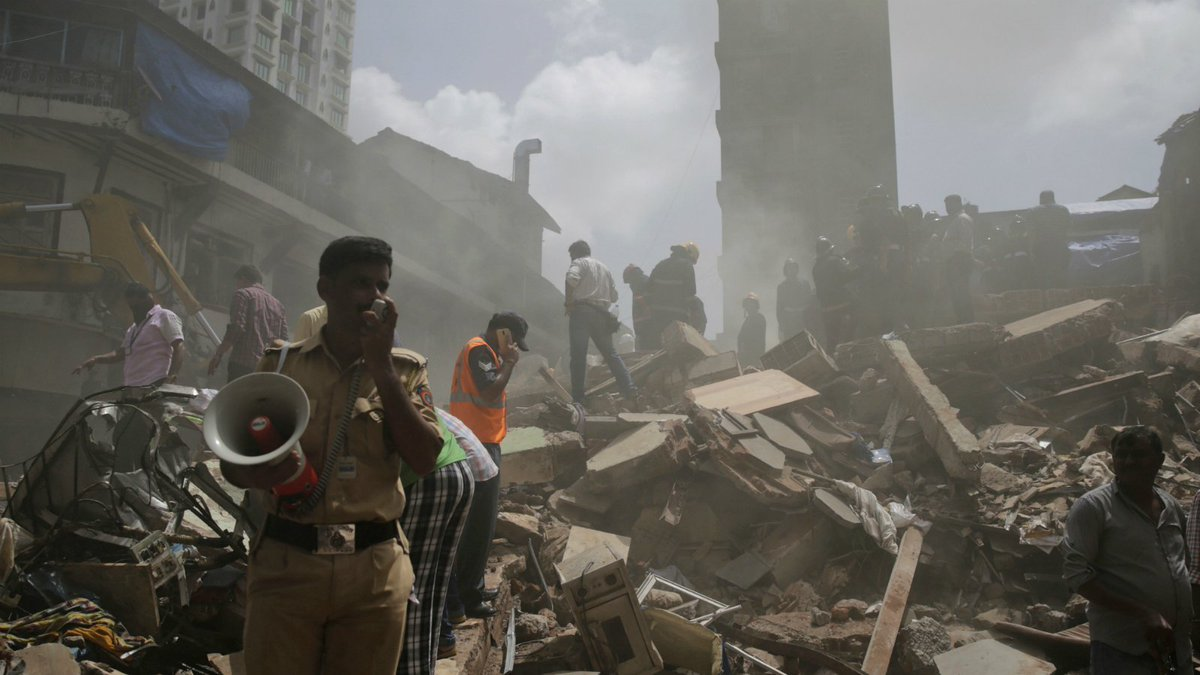 Five-storey building collapses in India after drastic rainfall
