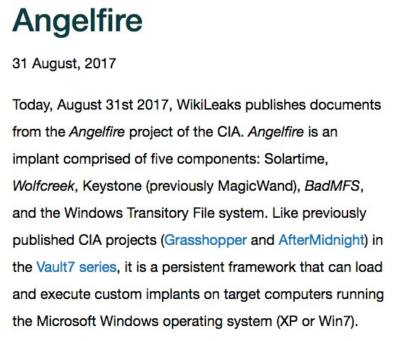 RELEASE: CIA 'Angelfire' covert Windows malware system