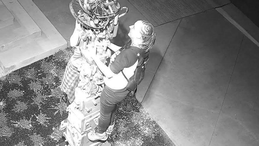 Two women damage sculptures at Missoula Art Park