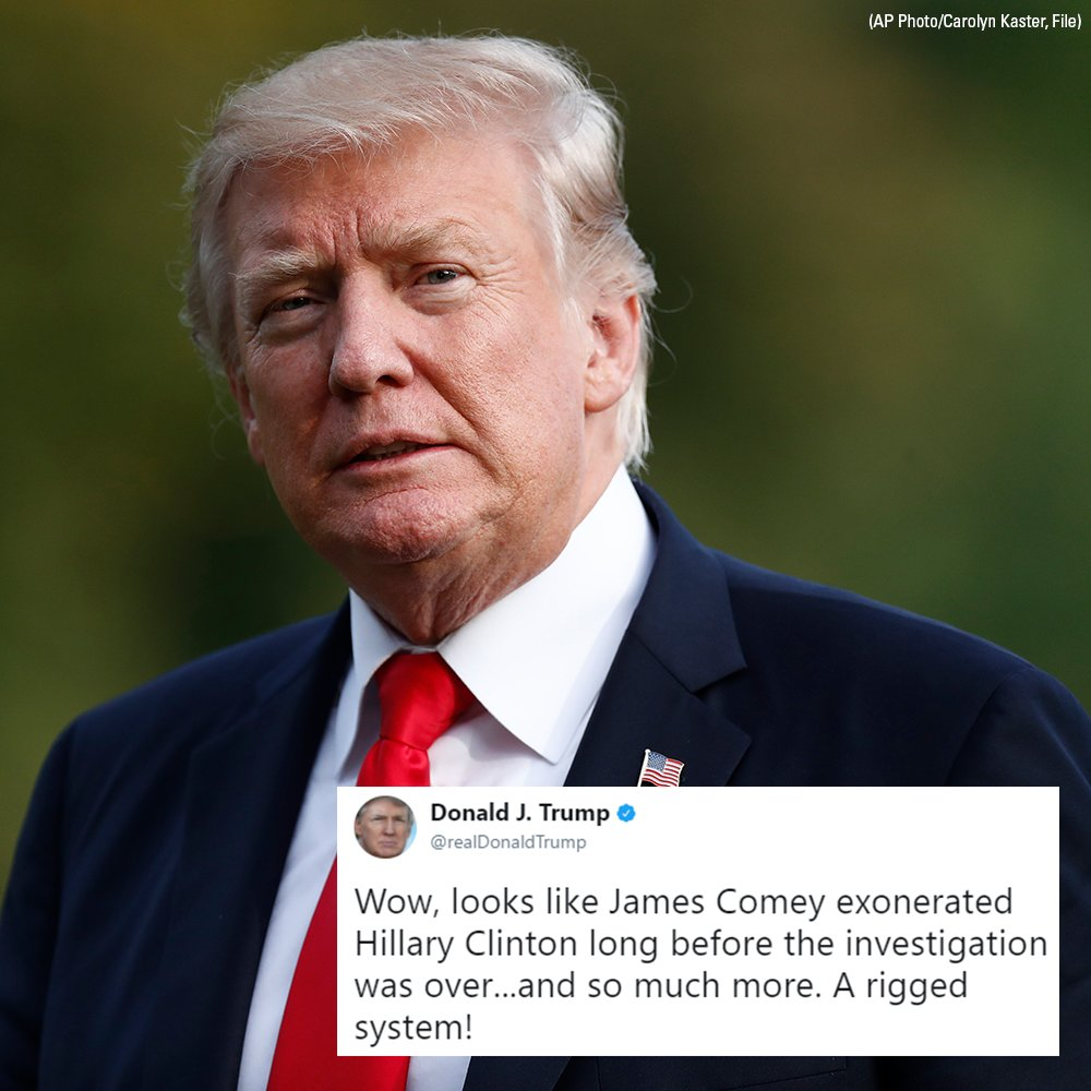 Trump slams 'rigged system' over claim Comey 'exonerated' Clinton before probe ended