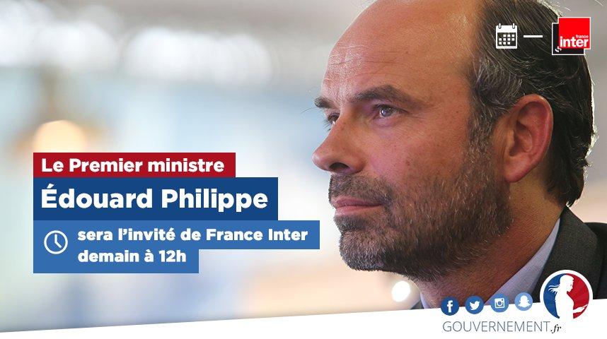 �� Le Premier ministre @EPhilippePM sera demain l'invité de @FranceInter à 12h #QuestionPol https://t.co/K1MMYboHiO