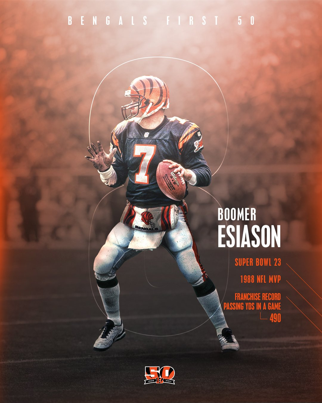 In 8 days, Bengals football returns! #BALvsCIN  Number 8 on the #Bengals First 50: Boomer Esiason  #Bengals50 https://t.co/orYXR1dumC