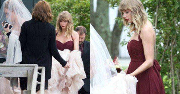 Taylor Swift was right there with her BFF Abigail (and holding her train) for her big day: