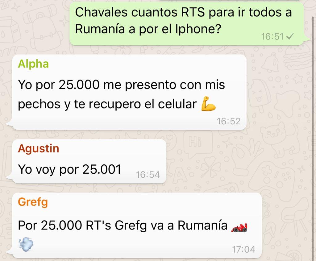 25.000 RTS en este tuit y vamos a Rumanía a recuperar el IPhone robado, al carrer.