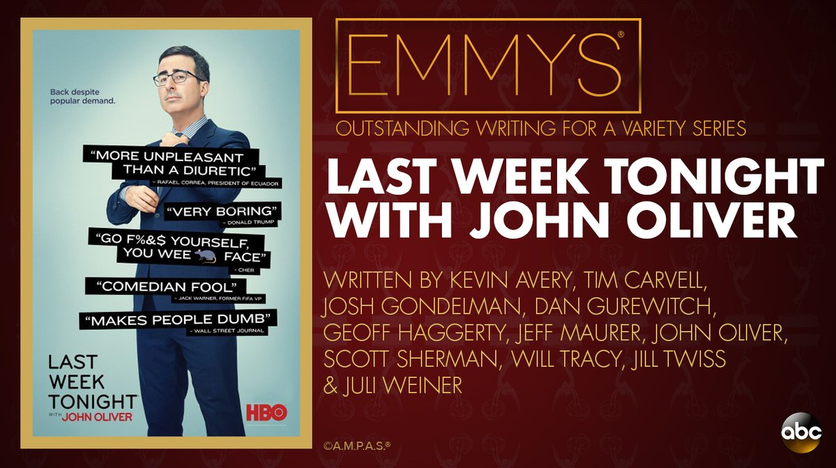 NEW: #Emmys Outstanding Writing for a Variety Series: 'Last Week Tonight with John Oliver' https://t.co/TzUctlLRuj https://t.co/bTNLsXHCWB