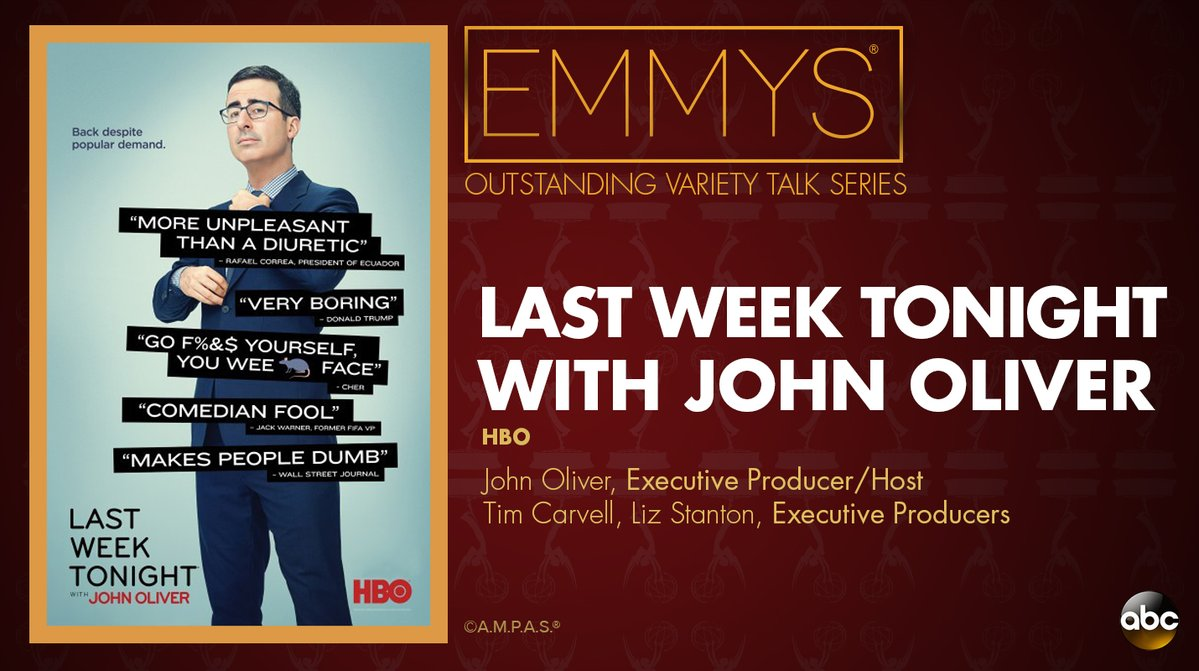 NEW: #Emmys Outstanding Variety Talk Series: 'Last Week Tonight with John Oliver' https://t.co/yd5asDzx2v https://t.co/0QFENUcN6m